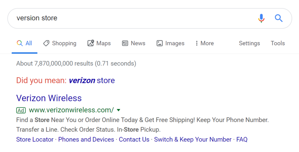 Google suggests Verizon Store